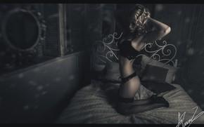 Обои эротика, девушка, постель, горячая девушка