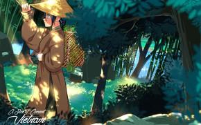 Картинка девушка, природа, шляпа