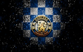 Картинка wallpaper, sport, logo, football, Chelsea, glitter, checkered