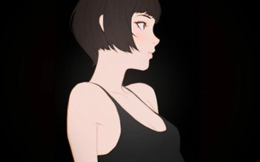 Картинка стрижка, майка, декольте, черный фон, плечи, в профиль, портрет девушки, Кувшинов Илья