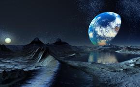 Картинка Лагуна, Планета, Созвездия, Небосвод, Терминатор: Граница Дня и Ночи