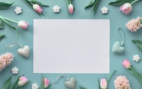 Картинка цветы, фон, сердечки, тюльпаны, гиацинты, голубой, розовые