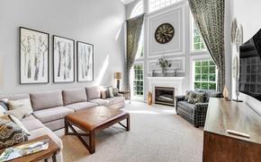 Картинка диван, часы, окна, картины, камин, шторы, гостиная