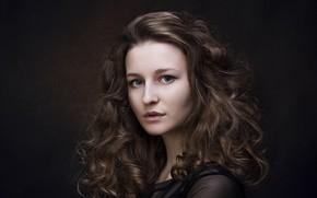 Картинка девушка, портрет, шатенка, локоны, Юрий Егоров