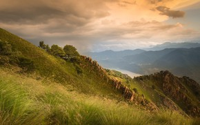 Картинка пейзаж, горы, природа, озеро, красота, простор, панорама