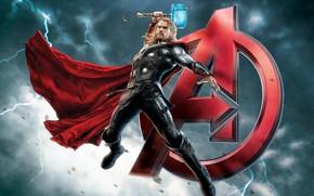 Картинка молот, Thor, Тор, Крис Хемсворт, Мстители, Chris Hemsworth, Avengers