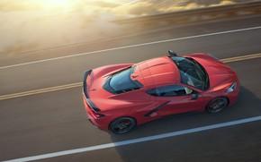 Картинка Дорога, Corvette, Chevrolet, Stingray, 2020, Скорость II, Chevrolet Corvette ( C8 ) Stingray