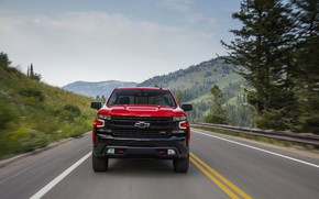 Картинка красный, Chevrolet, вид спереди, пикап, Silverado, Z71, Trail Boss, 2019, Silverado LT