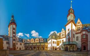 Картинка небо, солнце, облака, замок, Германия, двор, башни, Weilburg Castle
