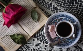 Картинка роза, кофе, сладости, книга