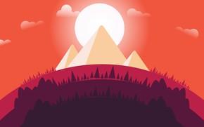 Картинка Закат, Солнце, Минимализм, Деревья, Лес, Пирамиды, Пирамида, Landscape, Concept Art, Environments, Naughty Natesan, Circle animation …