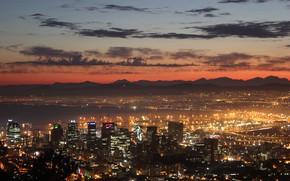 Картинка city, lights, twilight, sky, sea, mountains, clouds, sunrise, South Africa, buildings, skyscrapers, ships, bay, harbor, …