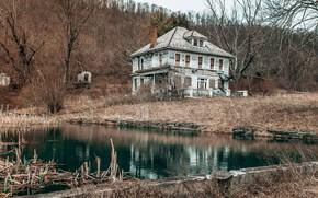 Картинка природа, дом, пруд