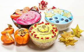 Картинка ягоды, черника, гранат, хурма, йогурт