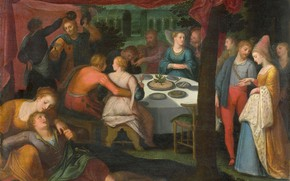 Картинка масло, картина, 1613, Отто ван Веен, Otto van Veen, Ужин в Лесу