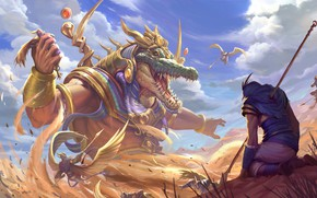 Картинка песок, крокодил, Бог, Smite, Sobek, египетский бог