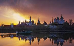 Картинка пейзаж, закат, природа, озеро, лодка, Кремль, Измайлово, Павел Ныриков
