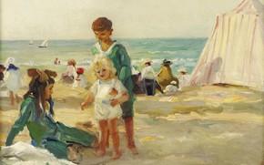 Картинка море, отдых, картина, палатка, На пляже в Довиле, Пол Мишель Дюпюи, Paul Michel Dupuy