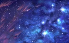 Картинка облака, текстура, звёзды, звёздное небо