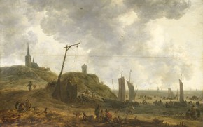 Картинка пейзаж, масло, картина, 1670, Адриан ван дер Кабель, Adriaen van der Kabel, Пляж в Катвейке