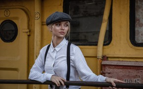 Картинка девушка, кепка, рубашка, подтяжки, Олег Климин, Екатерина Наговицына