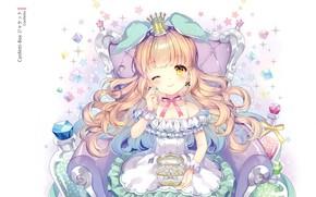 Картинка кресло, корона, девочка, шкатулка, принцесса, бантик, длинные волосы, подмигивание, драгоценные камни, оборки, брилиант, by Wasabi