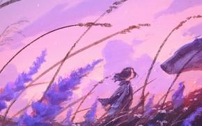 Картинка поле, девушка, цветы, ветер, арт