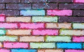 Картинка стена, цветные, текстура, кирпичи