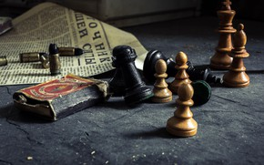 Картинка спички, шахматы, газета, патроны