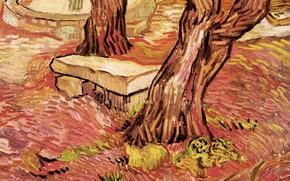 Картинка лавочка, фонтан, два дерева, Винсент ван Гог, in the Garden, of Saint-Paul Hospital, The Stone …