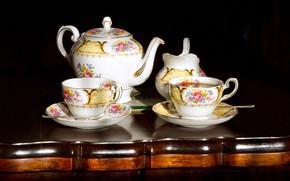 Картинка чайник, чашки, посуда, чайный набор