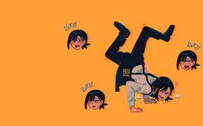 Картинка аниме, yellow, anime, dance, жёлтый фон, Kobeni Higashiyama, @blupixl__, Кобэни Хигасияма, Chainsaw Man, Человек-бензопила