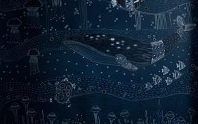Картинка WALL MURAL, DEEP BLUE, рыбы, кит, черепаха