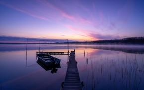 Картинка туман, озеро, рассвет, лодка, утро, Германия, мостки, Germany, Бранденбург, Brandenburg, Озеро Швилохзе, Schwielochsee