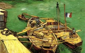 Картинка лодки, Vincent van Gogh, флаг франции, Unloading Sand Barges, Quay with Men