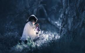 Картинка лес, ночь, девочка