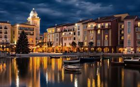 Картинка вода, здания, лодки, вечер, освещение, фонари, ёлка, США, отель, Орландо