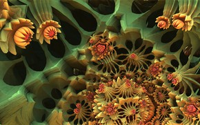 Картинка поверхность, цветы, 3д графика