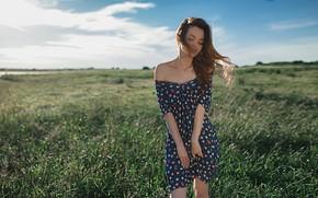 Картинка лето, небо, девушка, природа, поза, ветер, волосы, платье, красотка, Alexey Slesarev