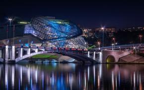 Картинка вода, ночь, мост, Франция, France, Lyon, Лион, блики на воде