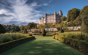 Картинка парк, замок, газон, dunrobin castle