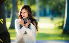 Картинка девушка, поза, азиатка, боке