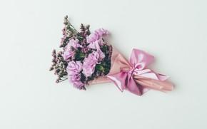 Картинка цветы, фон, букет, лента, розовые, vintage, pink, flowers, background, сиреневые, violet, гвоздики