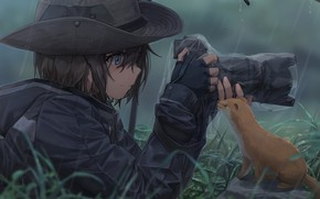 Картинка девушка, фото, дождь, шляпа, зонт, аниме, арт, фотоаппарат, зверек, Съёмка