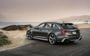 Картинка Audi, берег, задом, боком, универсал, RS 6, 2020, 2019, тёмно-серый, V8 Twin-Turbo, RS6 Avant