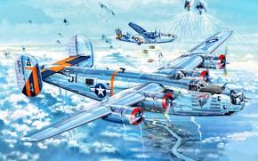 Картинка США, Liberator, B-24, B-24J, Знаменитые самолёты, Cтратегический бомбардировщик