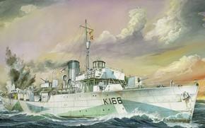 Картинка Канада, Великобритания, корвет, royal navy, Olaf Rahardt, Битва за Атлантику, Flower Class Corvette, HMCS Snowberry