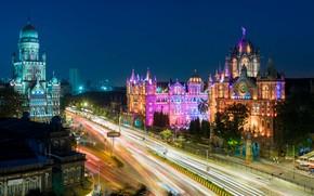 Картинка ночь, огни, дома, Индия, Мумбаи, Вокзал Чхатрапати-Шиваджи