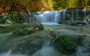 Картинка водопад, каскад, река, камни, лес