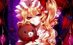 Картинка девушка, игрушка, мишка, Touhou, плюшевый мишка, Flandre Scarlet, Тохо, Тоухоу, Sheya